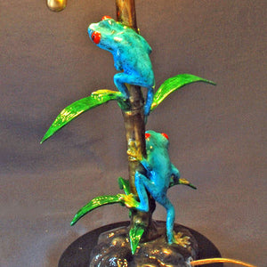 Bronze Frog Lamp Figurine Statue Sculpture Amphibian Art / Limited Edition Signed & Numbered - sculptin.com