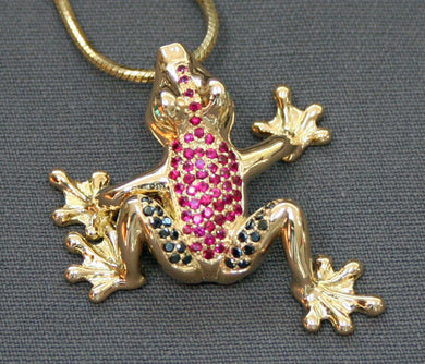 Gold Frog Figurine Sculpture Art Black Diamonds Rubies