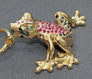18K Gold Frog Figurine Statue Sculpture Art Black Diamonds Rubies / Limited Edition - sculptin.com