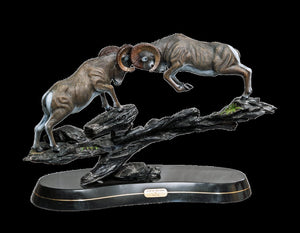"Bronze Ram Sheep Figurine Sculpture ""Clap Of Thunder"" Art Limited Edition - sculptin.com"