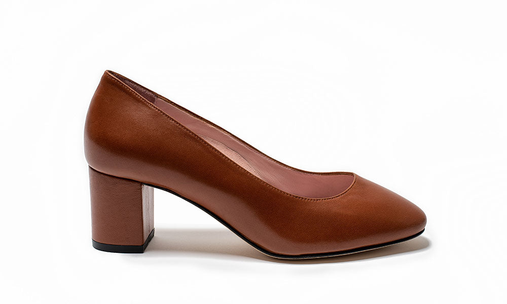 Cognac Block Heel Shoes