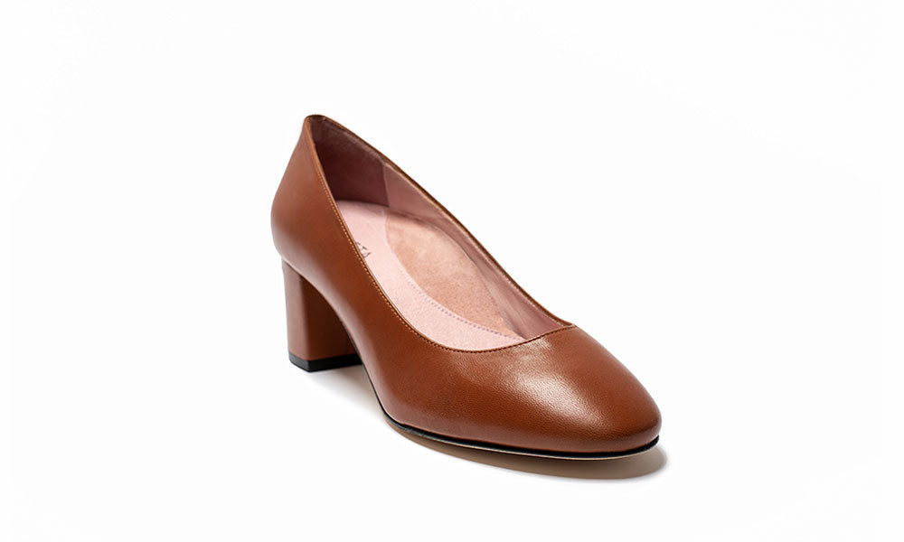 Comfortable Cognac Block Heel Shoes