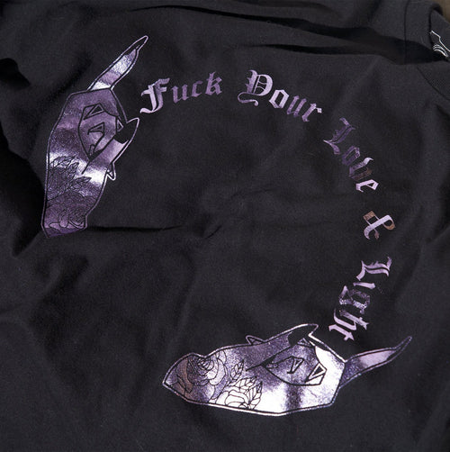 F*ck Your Love & Light Tee - Lavender on Black Tee - Threads of Fate