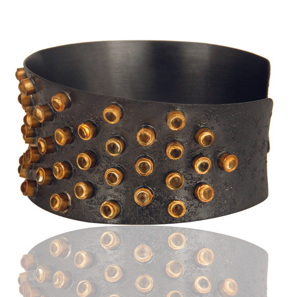 MELROSE citrine cuff in reclaimed sterling silver + 22k gold vermeil