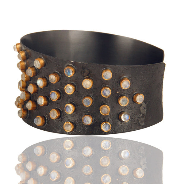 MELROSE moonstone cuff in reclaimed sterling silver + 22k gold vermeil