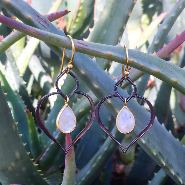 SUCCULENT earrings in reclaimed sterling silver + 22k gold vermeil