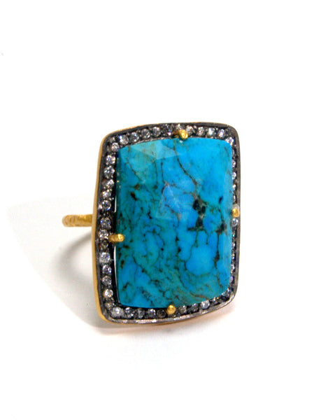 Himalayan Turquoise + White Zircon Statement Ring