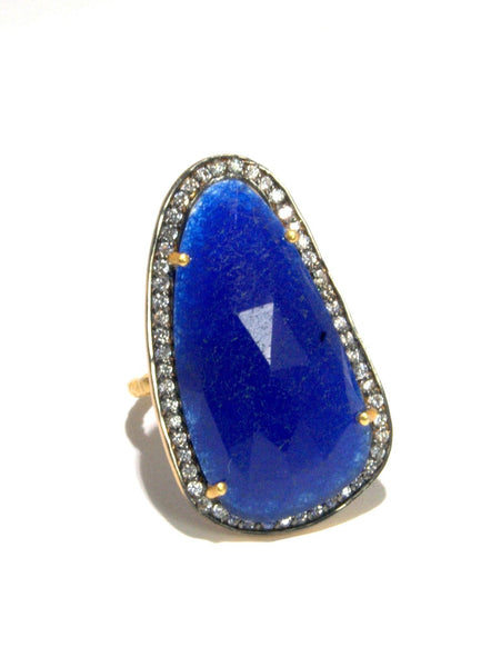 Cobalt Quartz + White Zircon Statement Ring