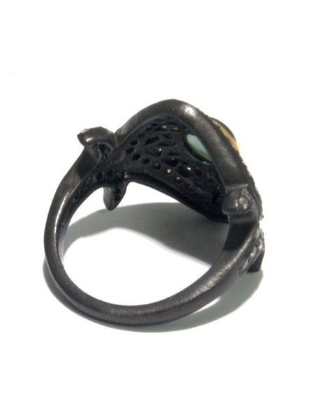 ANTHRACITE oxidized silver + 22k tourmaline ring