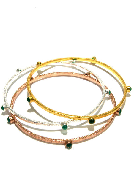 MONACO hammered gemstone bangles