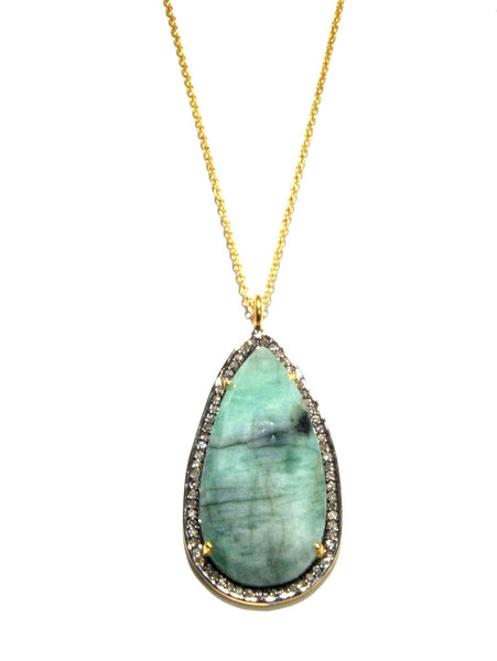 Green Beryl + Diamond Statement Pendant