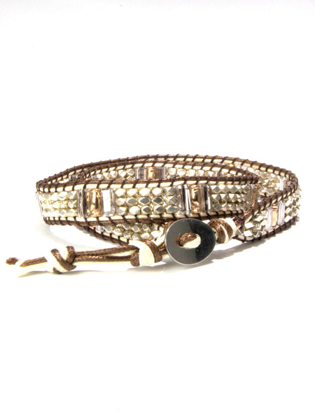 DUNE mixed metal and swarovski baguette wrap bracelet