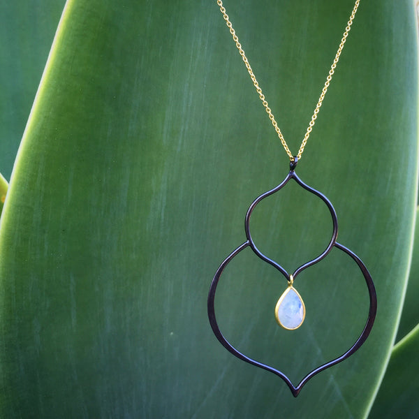 SUCCULENT necklace in reclaimed sterling silver + 22k gold vermeil