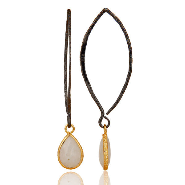 CELINE drop earring in reclaimed sterling silver + 22k gold vermeil