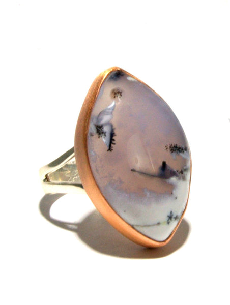 Mixed Metal Dendritic Opal Ring