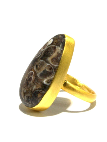 Fossil Agate Ring In Gold