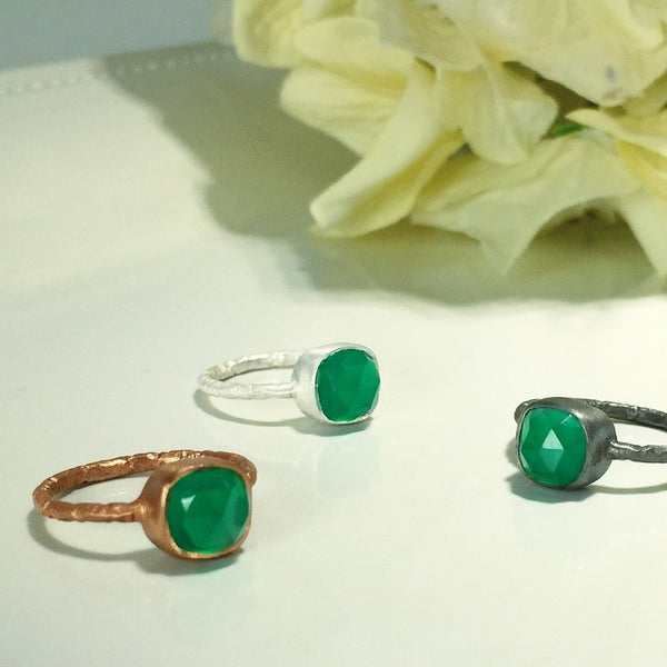 Mixed Metal Felicity Rings In Green Onyx