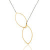 LIV lariat necklace in oxidized reclaimed silver + 22k gold vermeil