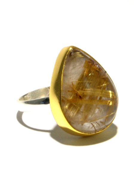 Mixed Metal Golden Rutilated Quartz Ring