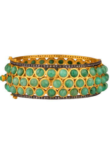 Green Beryl + Micro Pave Diamond Runway Bangle Bracelet