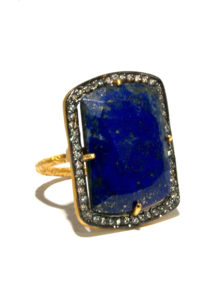 Lapis Lazuli + White Zircon Statement Ring