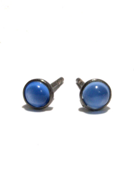 MIKROS petite gemstone studs in reclaimed sterling silver