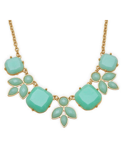 Mint Green Resin Statement Bib Necklace