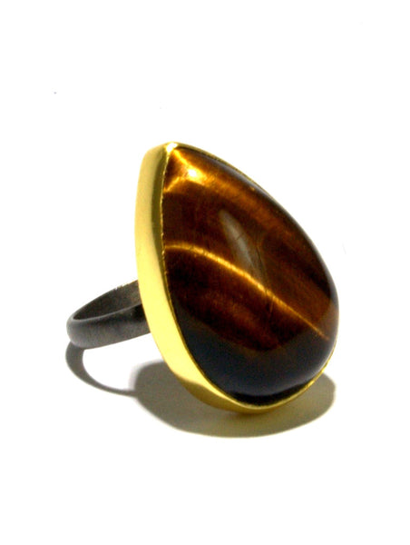 Mixed Metal Tiger's Eye Ring