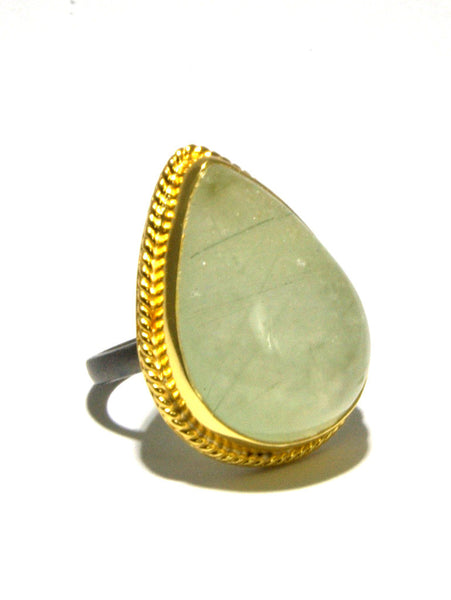 Mixed Metal Prehnite Statement Ring