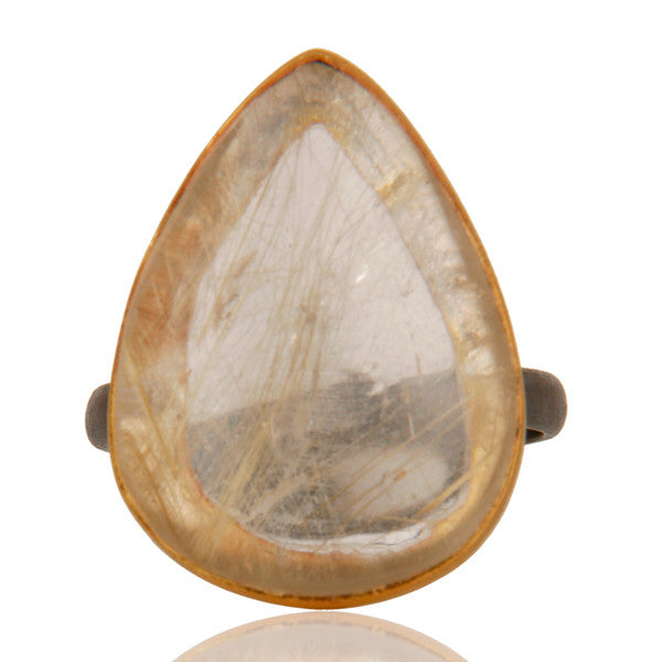 Rutilated Quartz Ring In Oxidized Silver + 22k Gold