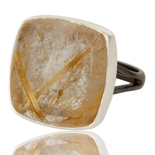 Rutilated Quartz Ring In Mixed Metal