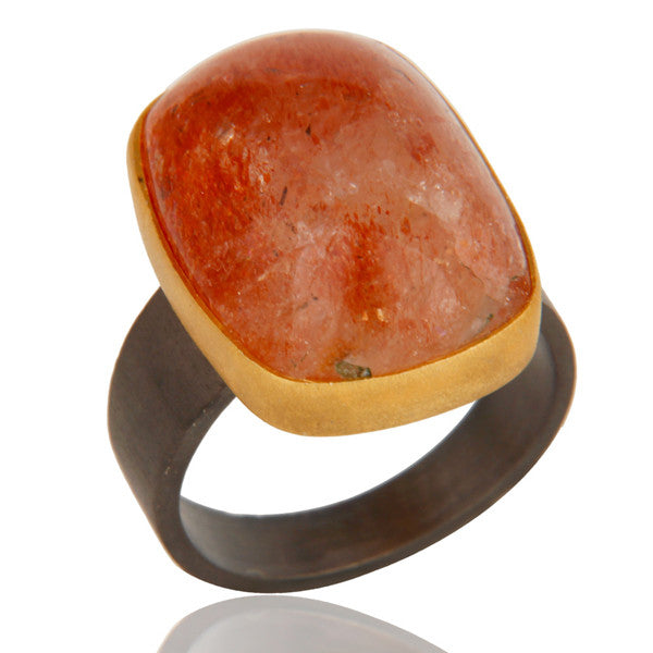 Oregon Sunstone Ring In Oxidized Silver + Gold