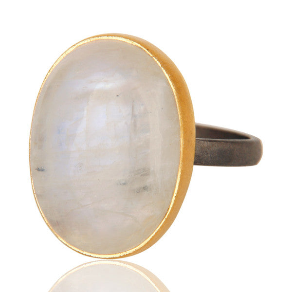 Rainbow Moonstone Ring In Mixed Metal