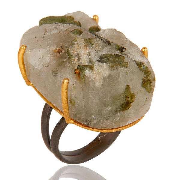 Raw Tourmilated Quartz Ring In Mixed Metal