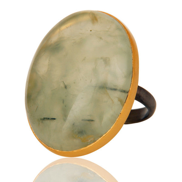 Oval Prehnite Ring In Mixed Metal