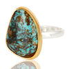 Boulder Turquoise Ring In Silver + Gold