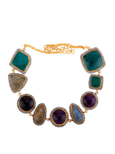 Mixed Metal Multi Gemstone Statement Necklace