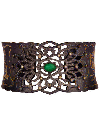 Diamond + Green Emerald Mixed Metal Filigree Cuff