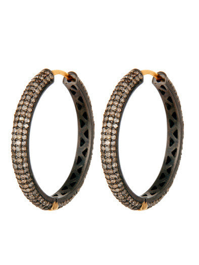 MIDNIGHT ICE micro pave diamond hoops - medium