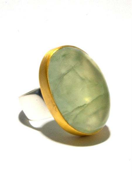 Mixed Metal Prehnite Ring