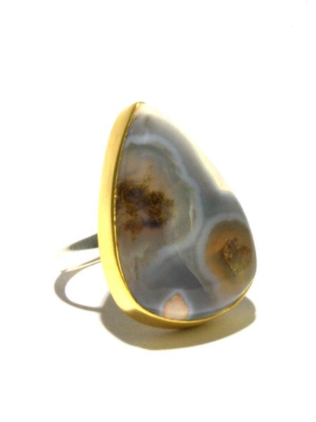 Mixed Metal Solar Ice Quartz Ring