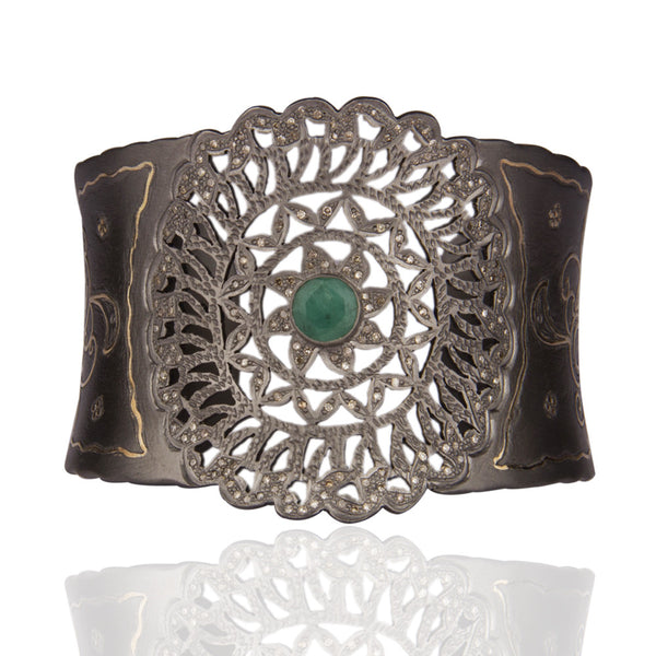 SOLEIL diamond cuff in reclaimed sterling silver + 18k gold