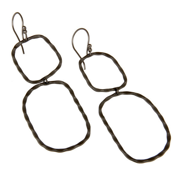 THE BOWERY double drop earrings in oxidized reclaimed sterling silver