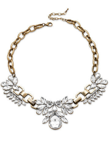 Vintage Inspired Crystal Statement Bib Necklace