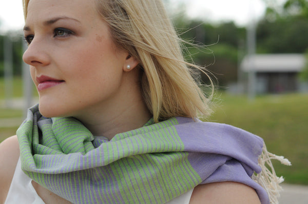 grapevine kem - lavender green striped cotton scarf