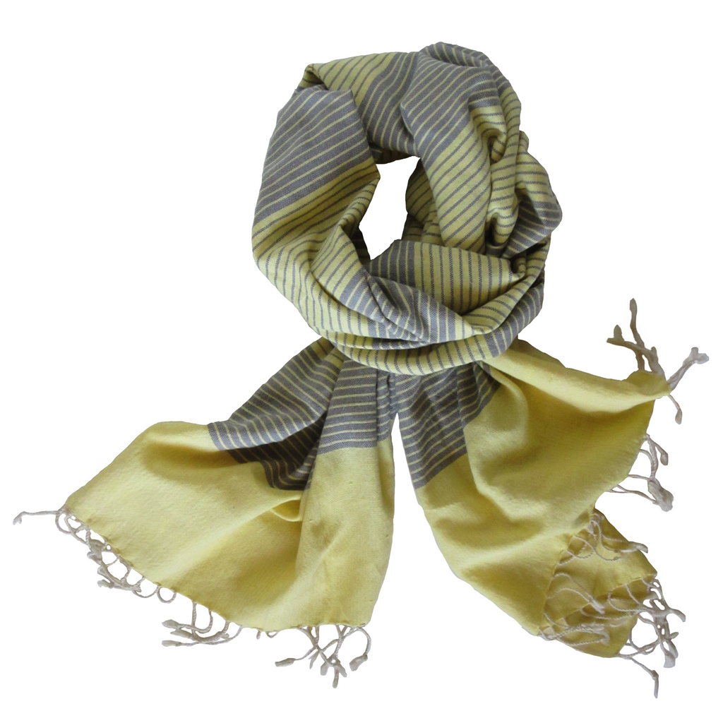 canary kem - yellow gray striped cotton scarf