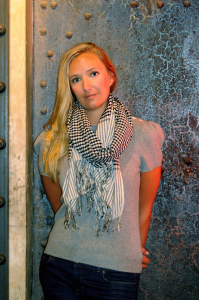 chom - black white cotton gingham scarf