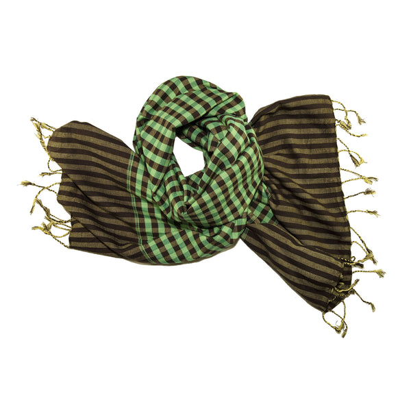 green paje - green brown cotton gingham scarf