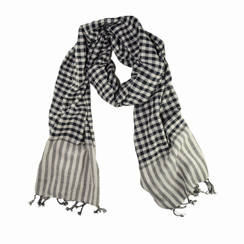 em - navy white cotton gingham scarf