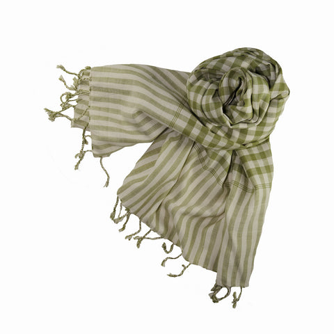 em - olive green white cotton gingham scarf